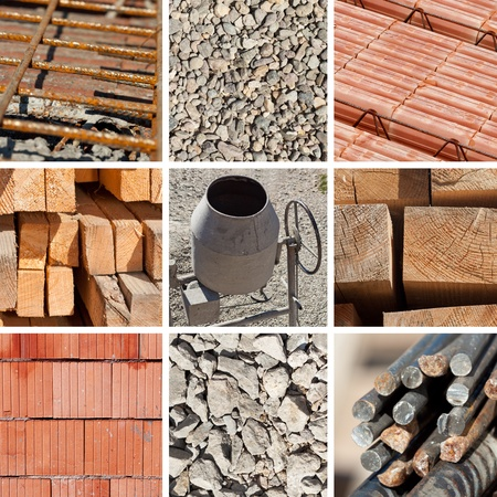 Basic construction materials collage with concrete mixer in center Stock Photo