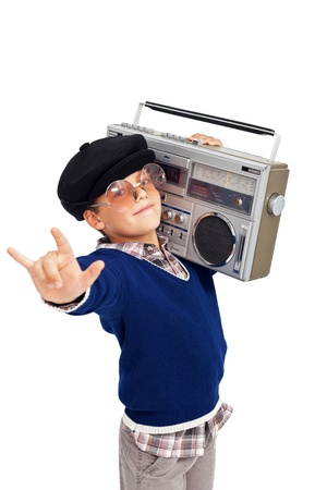 tape player: Cool retro boy with portable cassette player and beret - isolated