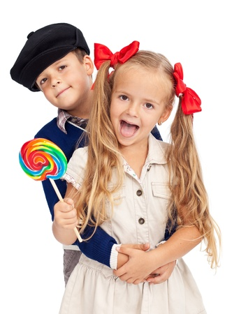 Happy kids in retro outfit, childhood sweethearts - isolated