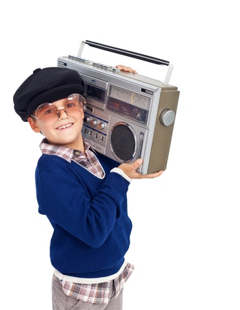 stylish boy: Cool retro kid with cassette player and sunglasses - isolated