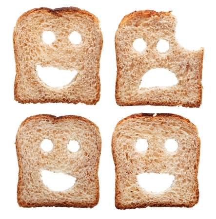 health symbols metaphors: Safety and insurance concept with smiling and sad bread slices - isolated