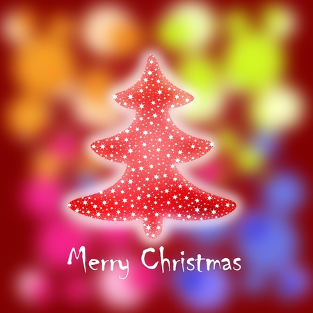 Christmas greeting card with twinkling stars tree and colorful blurry lights Stock Photo - 11105945