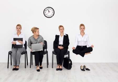 job hunt: Employees with special skills wanted concept - job interview candidates waiting