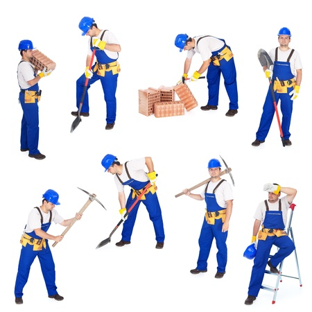 ladder safety: Builders or workers in various working positions collage - isolated