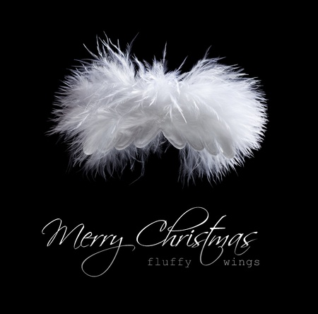 Flying fluffy christmas angel greeting abstract in black and white photo