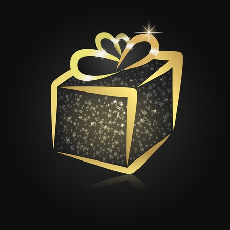 Golden Christmas present in a box with twinkling lights on black background photo