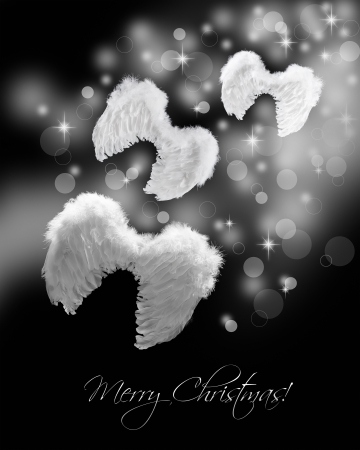 Angel wings flying on stardust trail - christmas greeting cardon black photo