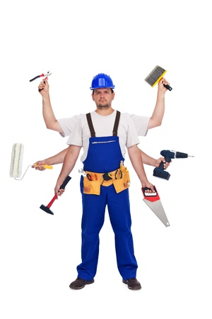 multitasking: Handyman or worker - jack of all trades concept, isolated