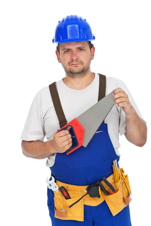 Confident worker with hand saw - isolated photo