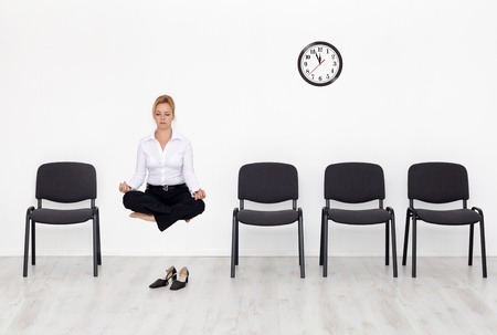 levitate: Time to try something new - business woman reinventing herself Stock Photo