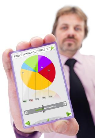 Businessman with modern smart glass panel like gadget Stock Photo - 12375560