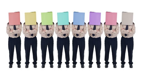 Cardboard box head businessman or politician in row - illusion of choice concept, isolated photo