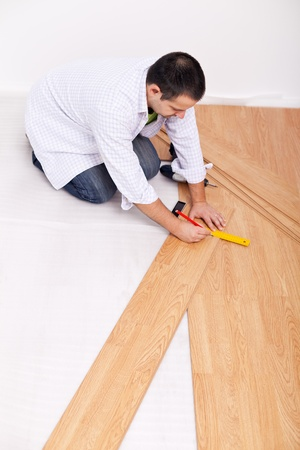 Laying laminate flooring - top view photo