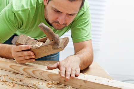 joiner: Man working with wood and traditional tools
