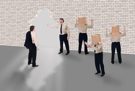 iluminados: Coaching de negocios - concepto de la escuela de negocios con el empresario ilustrado