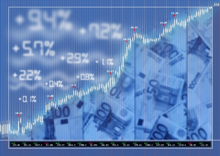 Stock exchange market background with diagram and money photo
