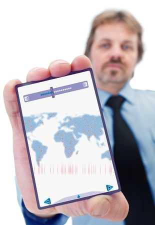 Businessman with modern gadget - with world map of dots Stock Photo - 12375579