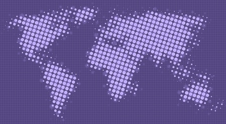 entities: Halftone dots map of the world in purple shades Stock Photo
