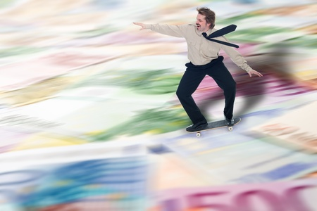 speculating: Businessman speculating the advantages of financial crisis - copy space Stock Photo