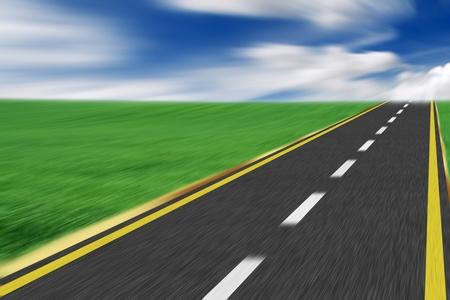 Charging uphill on the asphalt road - motion blur photo