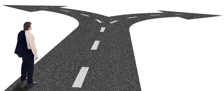 fork in the road: Business crossroads - decisions and strategic planning concept with businessman and forking road