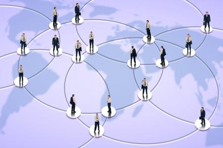 interaccion social: Las redes sociales y el concepto global de negocios con el empresario en los nodos de la red en todo el mundo