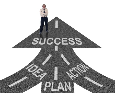 Road to success ingredients concept - idea, planning and action
