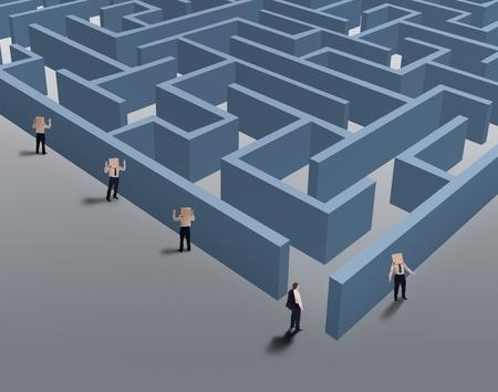 pensamiento estrategico: Hombre de negocios para encontrar un nicho de mercado - la visi�n y el concepto de pensamiento estrat�gico
