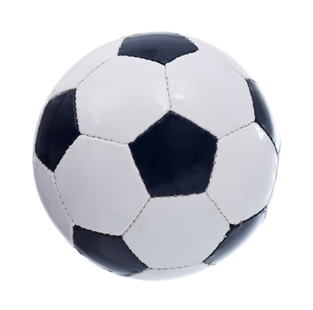 seamy: Classic retro pentagon patches football or soccer ball - isolated Stock Photo