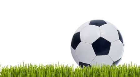 seamy: Classic soccer ball on grass - isolated with copy space