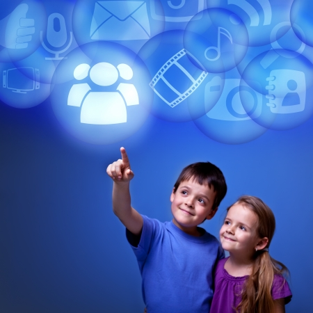 accessing: Kids accessing cloud computing applications from virtual space - futuristic abstract