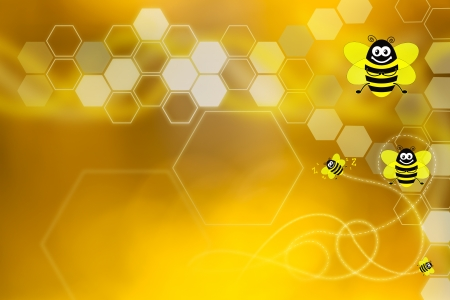 Golden wallpaper with honeycomb elements and bees flying photo