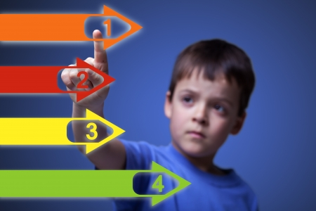touch screen interface: Child pointing to colorful numbered arrows on large screen - with space for your text