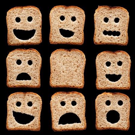 Bread slices with happy sad and other facial expressions - isolated on black