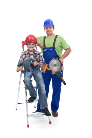 vocational: Vocational guidance concept - child and worker with power tools