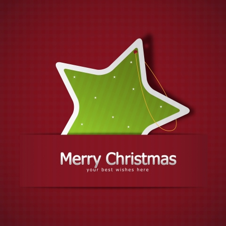 postcard background: Christmas greeting card with star shaped tree decoration