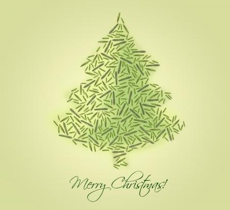 seasonal greeting: Christmas tree made of fir branches - seasonal greeting card Stock Photo