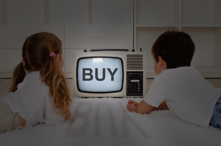 neuro: Mental imprinting concept - kids watching old television set