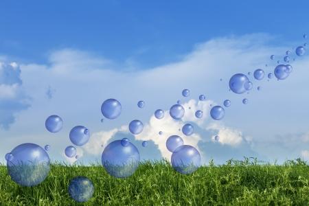 foam bubbles: Spring fresh bubbles over green meadow against blue sky