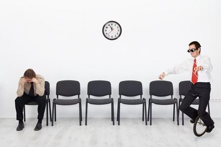 Mensen met verschillende kwalificaties op het sollicitatiegesprek - met een kopie ruimte Stockfoto