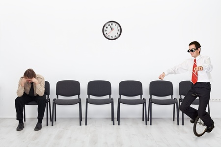 job qualifications: People with different qualifications at the job interview - with copy space Stock Photo