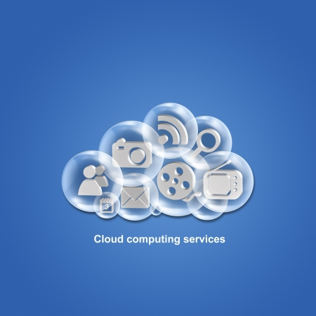 Cloud computing applications and services illustration illustration