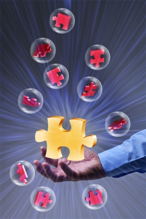The key piece of a solution concept - puzzle pieces in glass bubbles Stock Photo - 17931678
