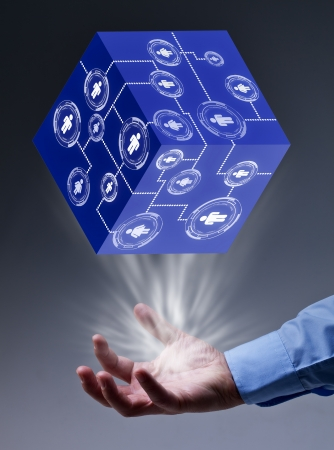 summon: The key piece of a solution concept - puzzle pieces in glass bubbles Stock Photo