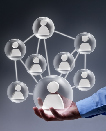 leverage: The leverage of social networking in business concept Stock Photo