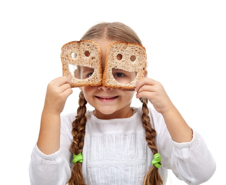 Gelukkig meisje met een overvloed aan eten - het welzijn concept, geïsoleerd Stockfoto