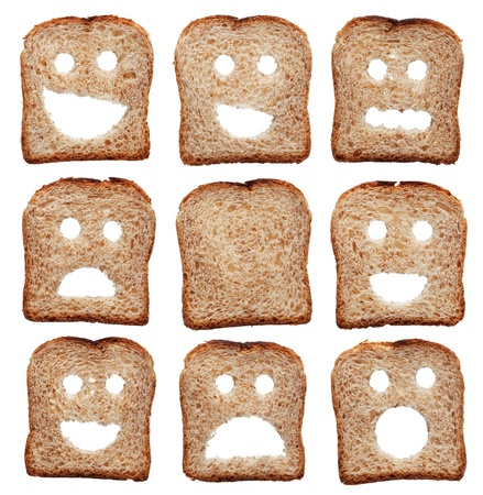 Bread slices with facial expressions - isolated on white photo