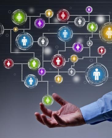 De hefboomwerking van sociale netwerken in business concept