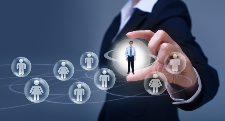 Social networking concept - business uses of social media Stock Photo