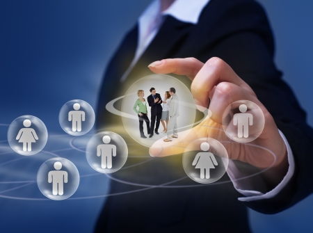 customer relationship: Social networking concept - with group of young people interacting Stock Photo